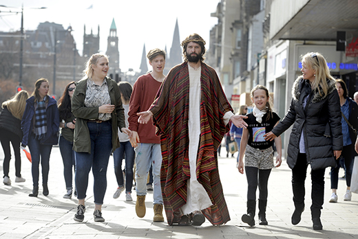 The Easter Play actor Duncan Rennie on Princes Street, Edinburgh