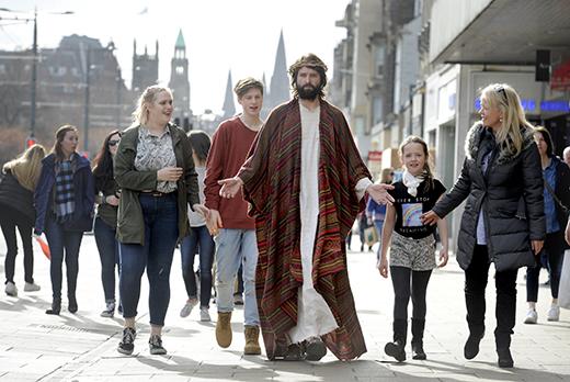 The Easter Play actor Duncan Rennie on Princes Street, Edinburgh