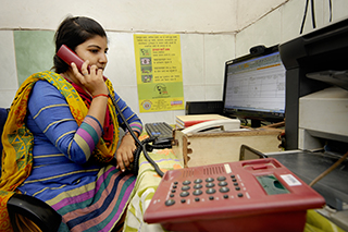 Childline counsellor Rama at Childline Gorakhpur, Uttar Pradesh, India