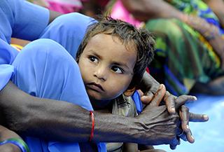 Child in Chandidhan, Uttar Pradesh, India, on the border with Nepal