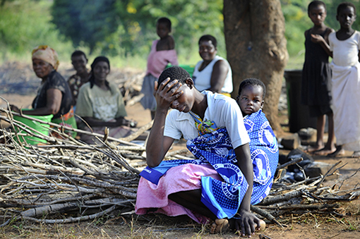 Displaced people camps in Malawi in April this year [above] - just four weeks after the floods and extreme rain of Cyclone Idai destroyed homes and subsistence crops belonging to these families in Chikwawa district, the far South of the country