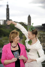 Scottish Dance Theatre dancer Solene Weinachter and culture minister Fiona Hyslop launch the Made In Scotland programme