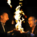 Un-spontaneous combustion:  Dr Simon Gage, director of Edinburgh International Science Festival, and Prof Richard Wiseman demonstrate an 'exothermic chemical reaction' by setting light to their hands.  Client: Edinburgh International Science Festival