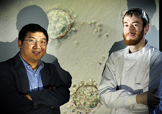 Dr Will Shu and Alan Faulkner-Jones from Heriot Watt University who developed the technology to manufacture artificial human liver tissue