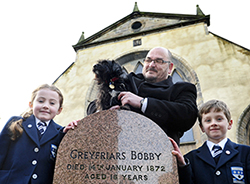 Good dog: Ruby, a hound from the Edinburgh Cats and Dogs Home, stands in for Bobby